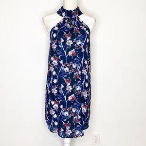 Charles Henry Mock Neck Floral Crepe Shift Dress S